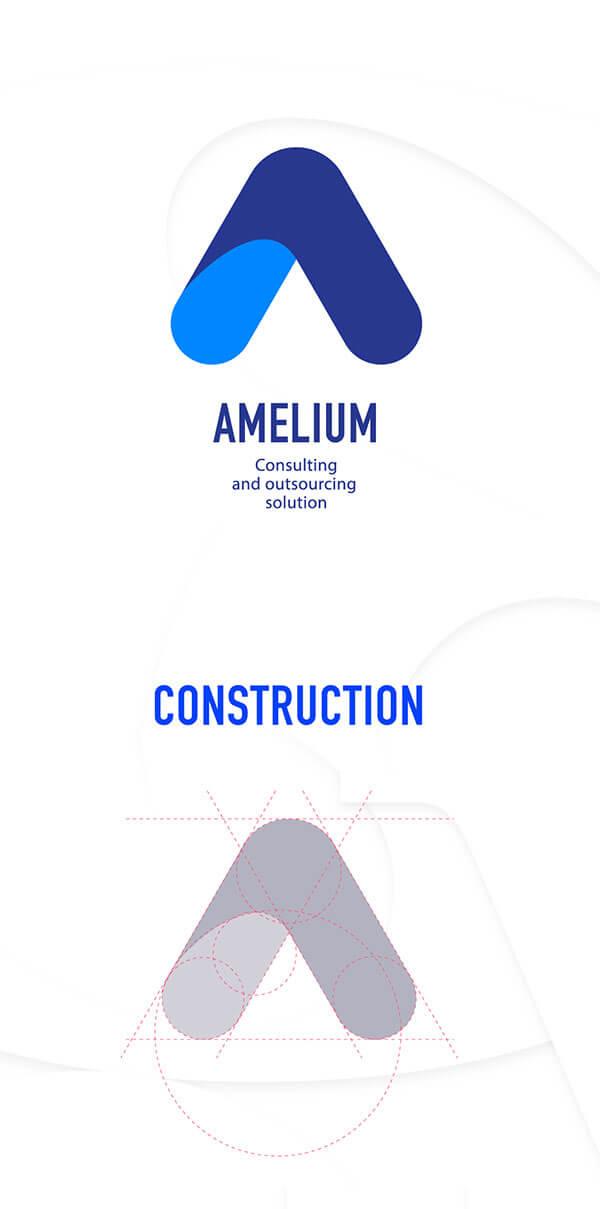 Design et conception du logo et de l'identité visuelle de la société Amelium