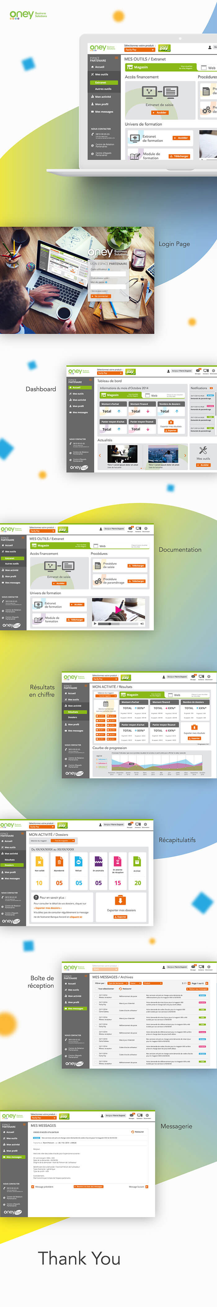 ui ux webdesign extranet oney banque accords